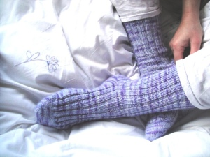 Any gauge ribbed socks test knit
